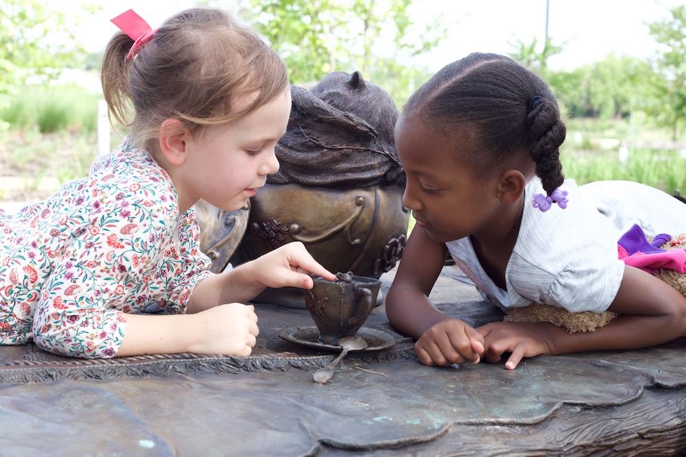 Texas artist Bridgette Mongeon's bronze table for Alice in Wonderland scene