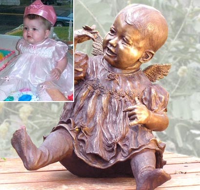Bronze statue of little girl by Texas sculptor Bridgette Mongeon