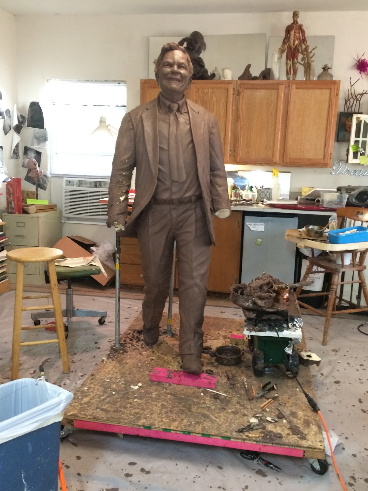 clay sculpture on a 3D cnc foam armature by Texas, artist Bridgette Mongeon