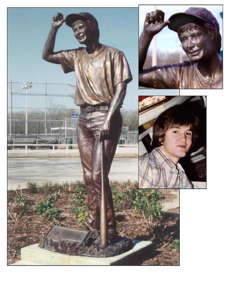 Houston, Texas artist creates a bronze statue of a baseball player.