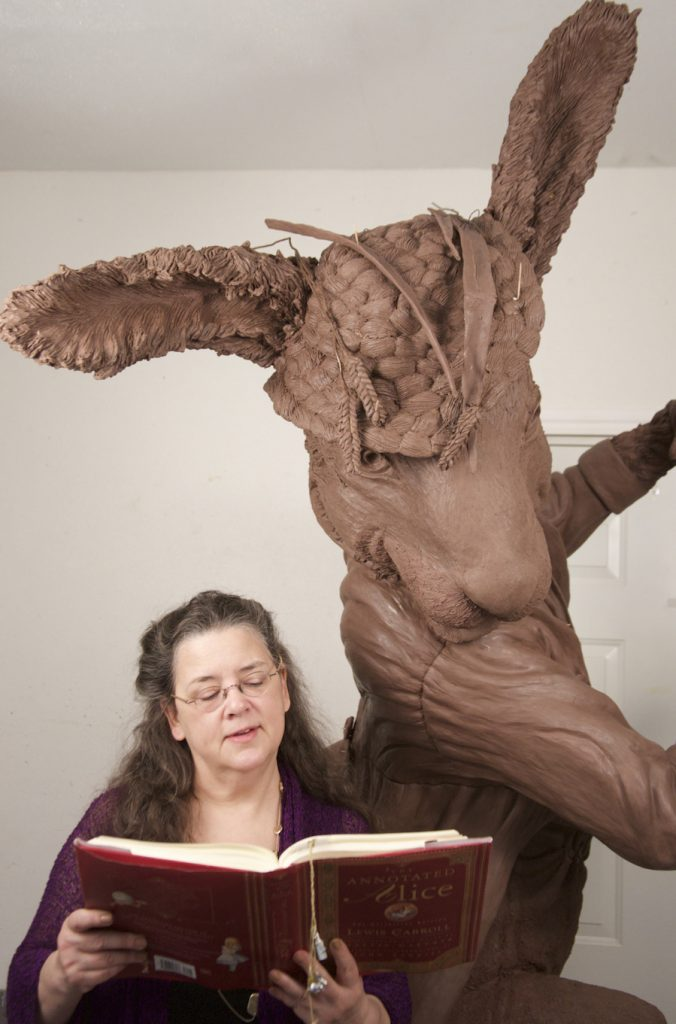 Houston, Texas sculptor Bridgette Mongeon with the March Hare.
