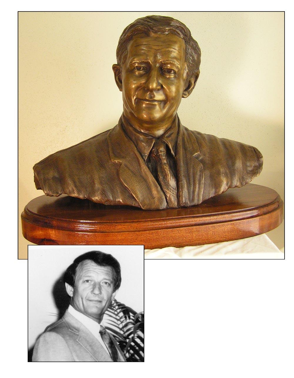 Bronze statue of a man by Texas Sculptor bridgette Mongeon