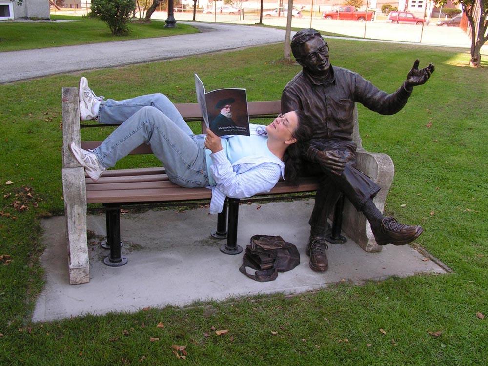 Bronze sculpture and Bridgette in Vermont.