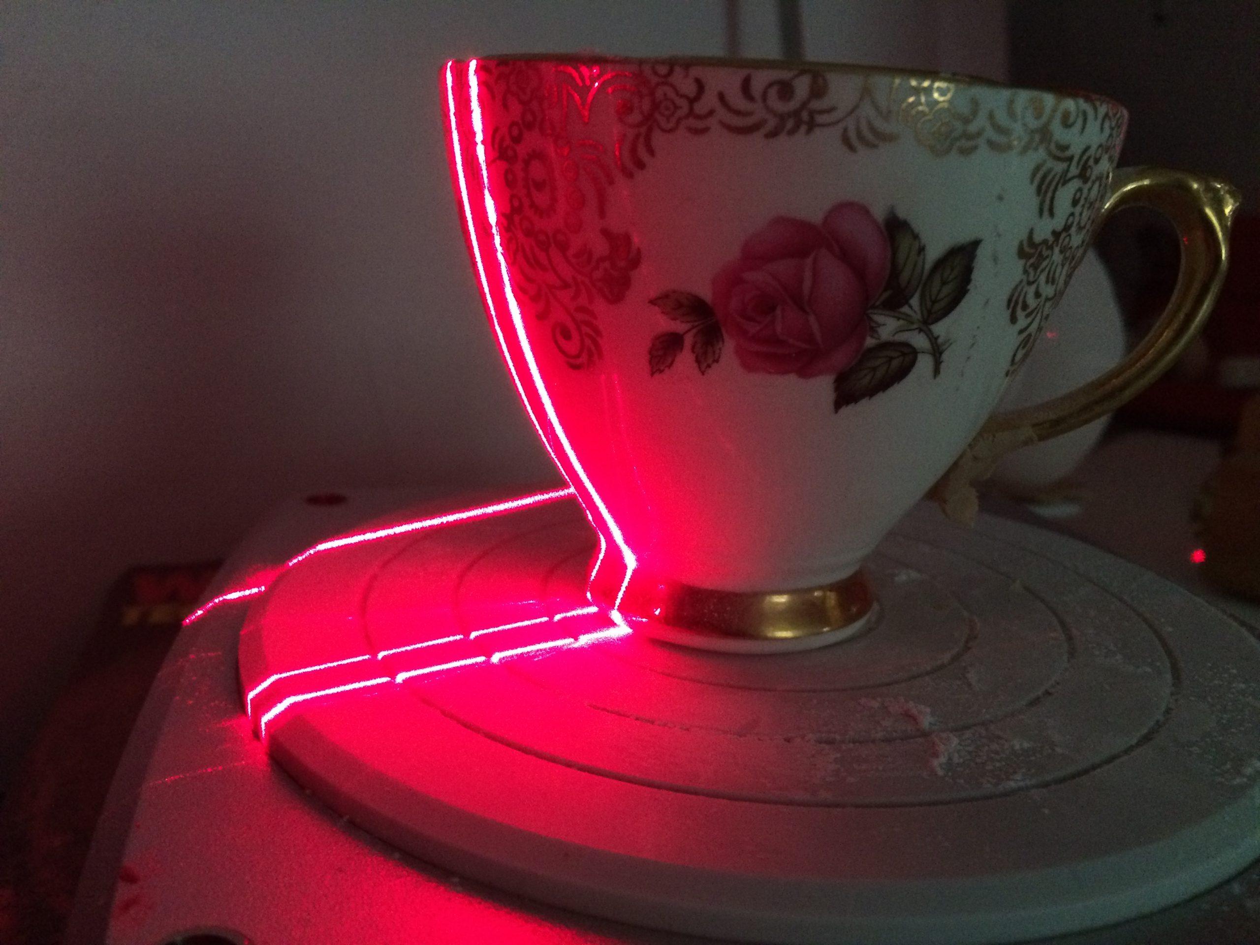 3D scanning of tea cup by Housto, Texas sculptor Bridgette Mongeon