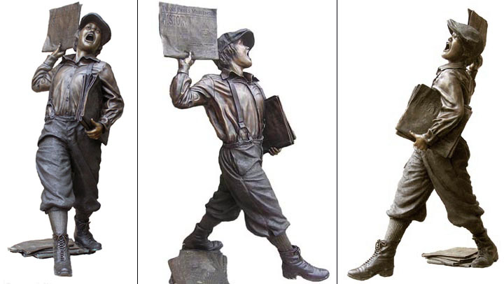 life size newsboy by Bridgette Mongeon