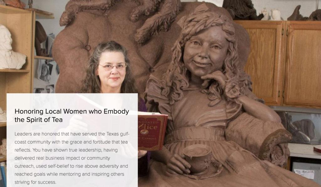 Sculptor Bridgette Mongeon with her sculpture of Alice