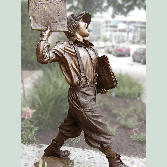 Houston, Texas sculptor creates a statue of a newsboy in bronze